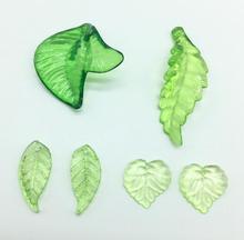 Wolesale Fashion Green Color Acrylic Leaf Beads Handmade DIY Loose Bead For Decoration 32x34mm/42x15mm/10x22mm/16x15mm y1033