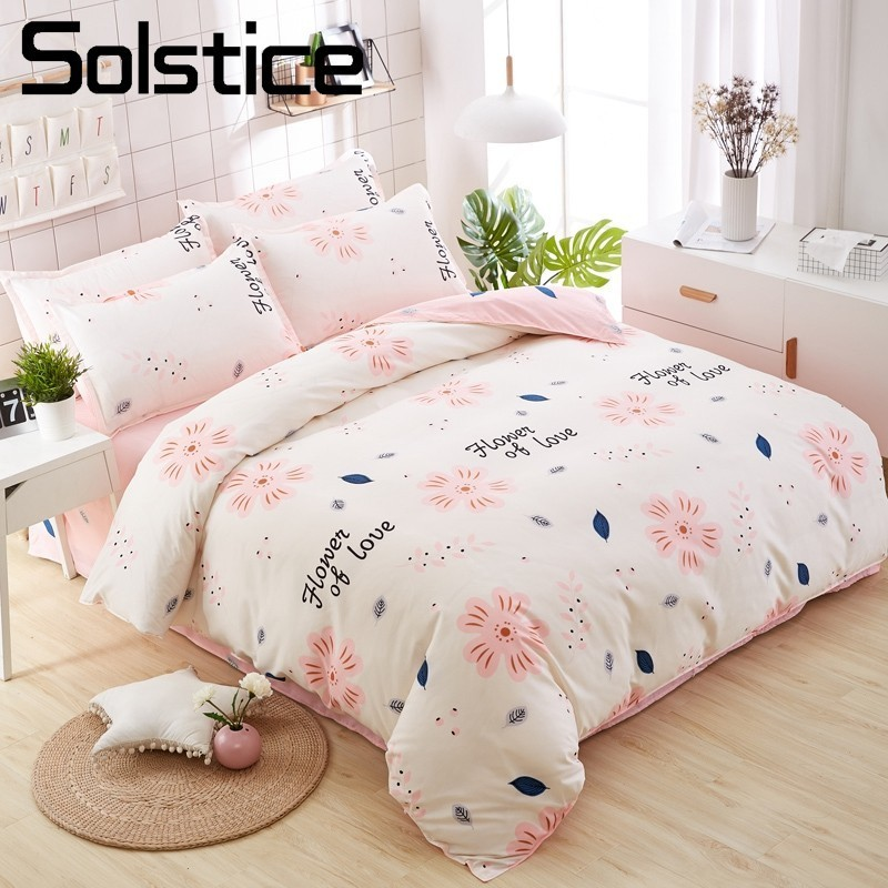 Solstice Home Textile Flower Sweet Duvet Cover Pink Girls Bed Linen Pillowcase Bed Sheet 3/4Pcs Kid Teens Bedding Sets King TwinSolstice Home Textile Flower Sweet Duvet Cover Pink Girls Bed Linen Pillowcase Bed Sheet 3/4Pcs Kid Teens Bedding Sets King Twin