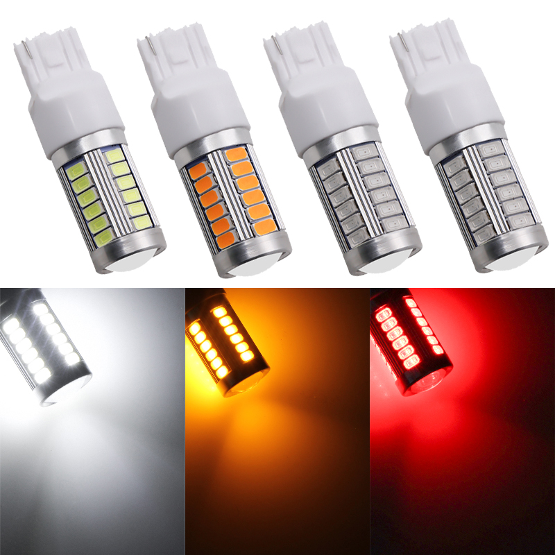 1PCS High Quality T20 7440 W21W WY21W 33 SMD 5630 5730 LED Auto Rear Fog Lamps Car DRL Light Reverse Bulb Turn Signals DC 12V