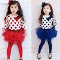 2016 baby suit clothing beautiful girl clothes children suit long sleeved T-shirt + dot skirt pants 2 piece set free shipping