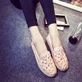 2017 Spring Summer Female Retro Hollow Shallow Mouth Comfortable Flat Shoes New Fashion Wild Flowers Silp-on Shoes Free Shipping