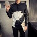 Европейский Стиль Простой Животных Печати Мужчины Рубашку 2016 Новых Длинными рукавом Slim Fit Воротником Платье Рубашка Мода Плюс Размер Повседневная рубашка