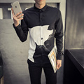European Style Simple Animal Print Men Shirt 2016 New Long Sleeve Slim Fit Collared Dress Shirt Fashion Plus Size Casual Shirt