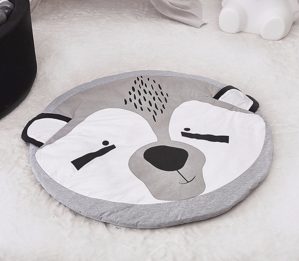 HTB1iEFgdjbguuRkHFrdq6z.LFXaW Cartoon Animals Baby Play Mat Foldable Kids Crawling Blanket Pad Round Carpet Rug Toys Cotton Children Room Decor Photo Props