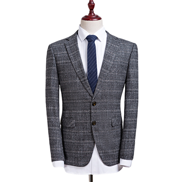 Ocio Trajes para hombres moda Trajes no planchado gris Blazers negocio  casual hombres chaqueta Trajes marca 94e6853d8dd