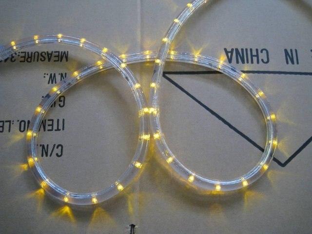100m/roll LED 2 wires Roundrope light;30leds/m;13mm diameter;DC12V/24V/AC110/220V are optional;yellow color