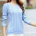 Lhzsyy женщин зимние и осенние пирсинг V шеи трикотаж кашемировый свитер 2016 новый женский кашемировый свитер вязаный пуловер
