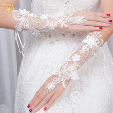 2019 New Bride Wedding Dress Gloves Women Lace Embroidery Fingerless Hollow Out Elegant Bridal Evening Party Accessories
