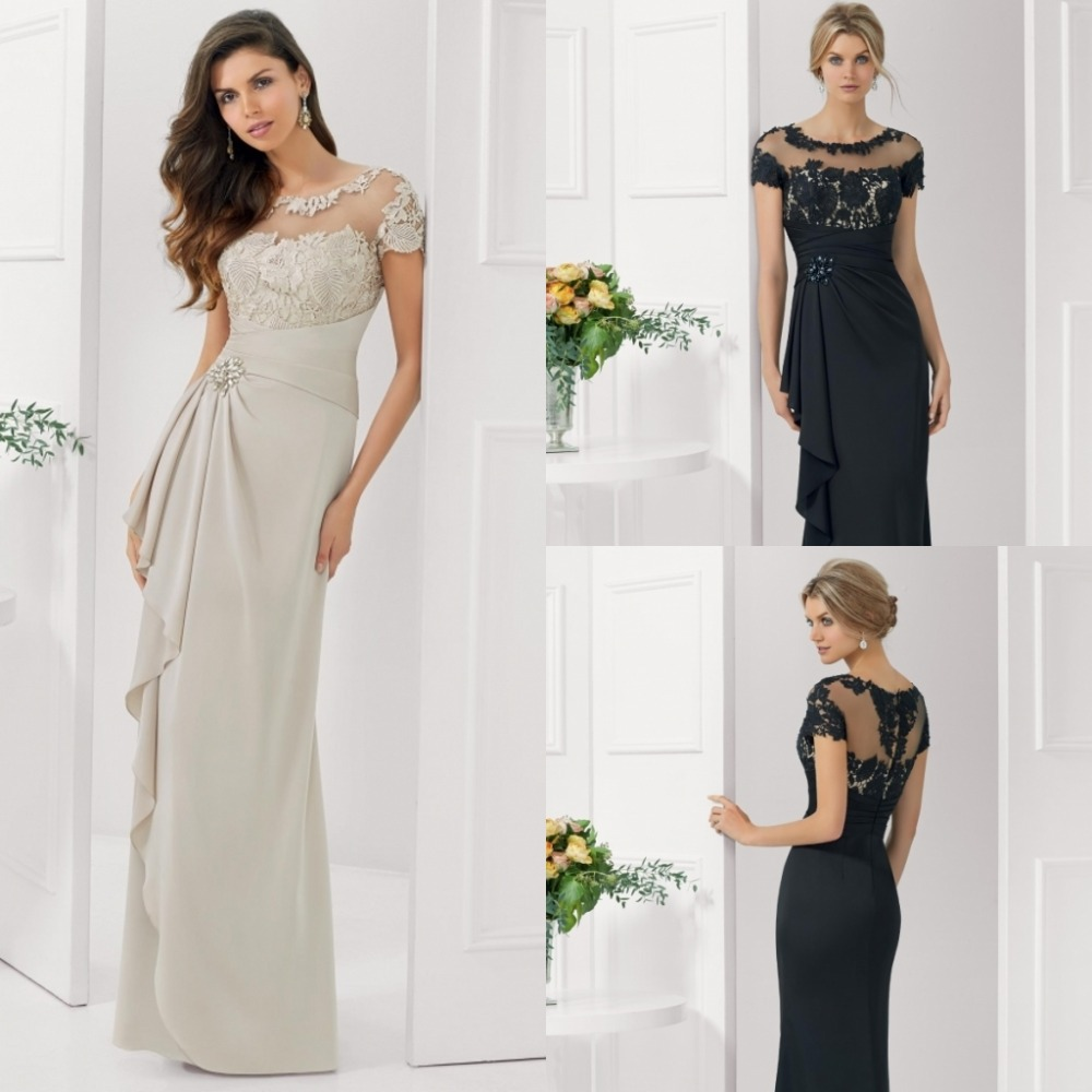 2015 Vestidos De Festa Madrinha Crystal Elegant Women Short Sleeve Black Lace And Chiffon Long Mother Of The Bride Dresses