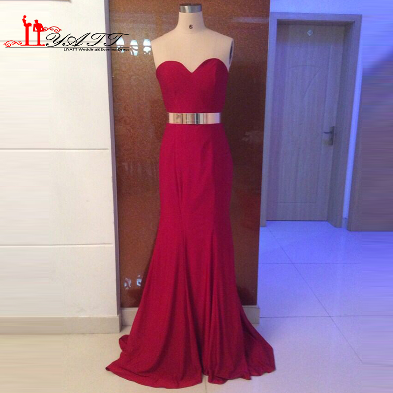 2016 Burgundy Evening Prom Dress Wine Red Spandex Y Mermaid Gold Belt Price Under 100 Liyatt In Dresses From Weddings Events On