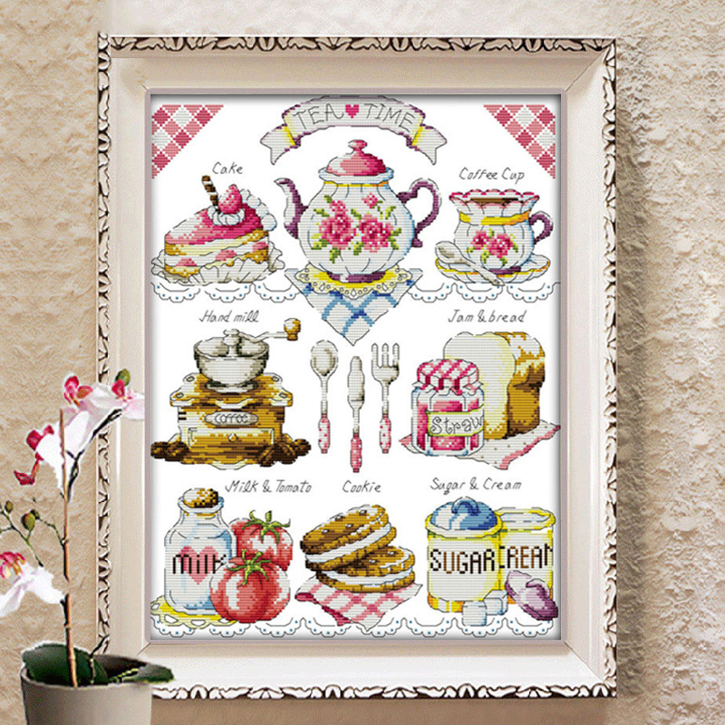 Dlicious Tea Cake 11CT Tryckt Tyg 14CT Canvas DMC Räknade Kinesiska Kors Stitch Kit Crossstitch Set Broderi Needlework