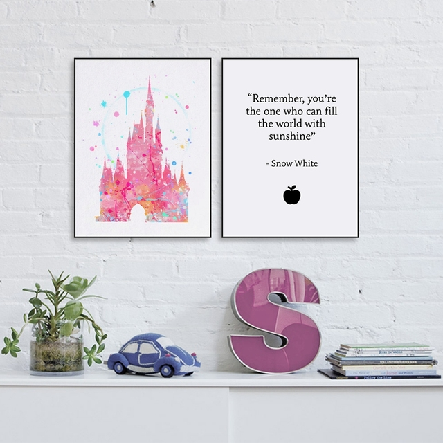 Cinderella S Castle Canvas Art Prints Picture Room Wall Decor Snow White Quote Princess Pink Painting Poster