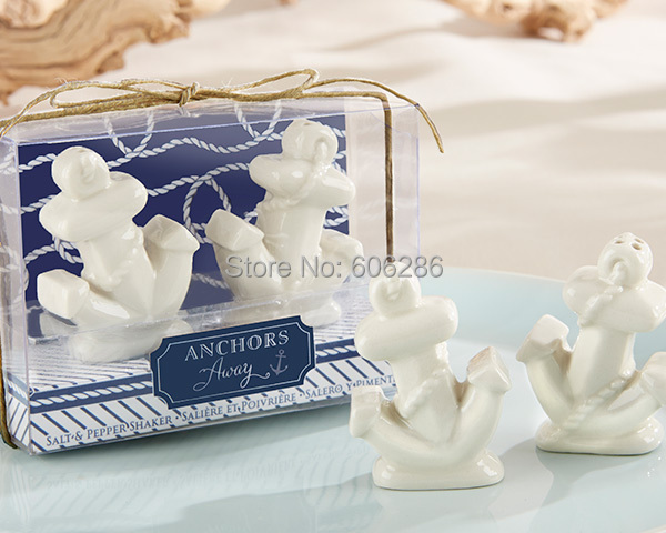 Free Shipping Beach Theme Anchor Away Ceramic Salt Pepper Shaker Sets Favors For