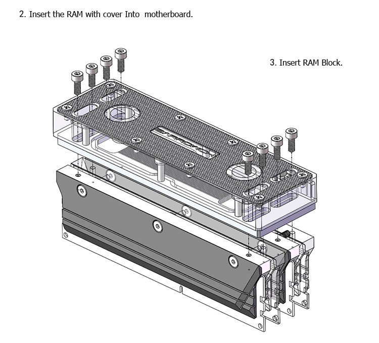 Купить с кэшбэком Barrow RAM Block use for 2pcs/4pcs RAM 2/4 Channel Cooled Transparent Radiator with Metal Cover 1 block + 2/4 Cover RGB 5V 3PIN