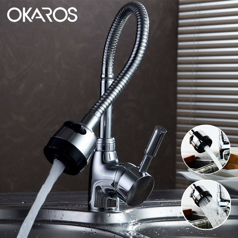 OKAROS Kitchen Sink Faucet Chrome Finished Pull Down Single Handle Flexible Folding Water Tap Mixer Bathroom