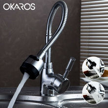 OKAROS Kitchen Sink Faucet Chrome Finished Pull Down Single Handle Flexible Folding Water Tap Mixer Bathroom Faucet Torneira