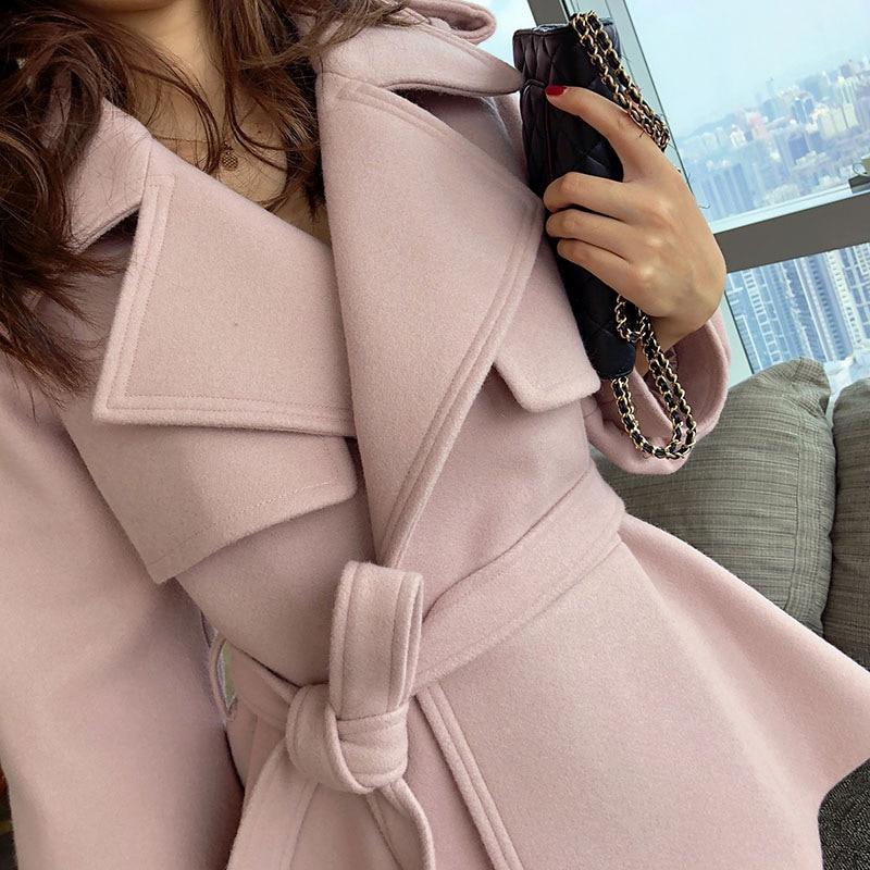 Rabattu Mode Décontracté En Ceinture Manches Pink Femme Solide Longues Laine Mince À Col Court Femmes De 2017 Manteau Hiver Arrivée Nouvelle UBqPwIZ