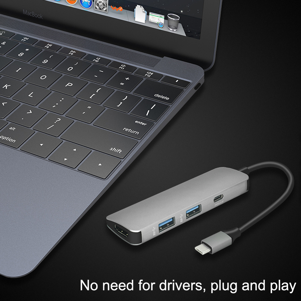 Image 5 - 4 in 1 USB C HUB USB C To HDMI 4K Hub USB 3.0 Adapter PD/Micro Usb Charging Port for MacBook Pro Samsung Galaxy S8 type C Hub-in USB Hubs from Computer & Office