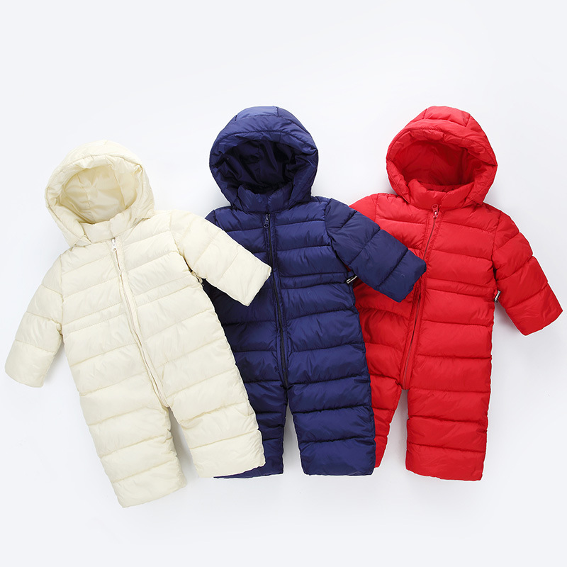 Winter Baby Thick Rompers Boys Costume Girls Warm Hooded Clothes Infant Snowsuit Kids Jumpsuit Children Outerwear Baby Wear G152