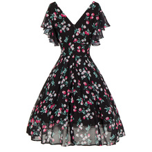 Dress 2018 Bohemian Elegance high Waist Printing Floral V -Neck Chiffon Female Elegant Beach Party night Dresses Plus Size