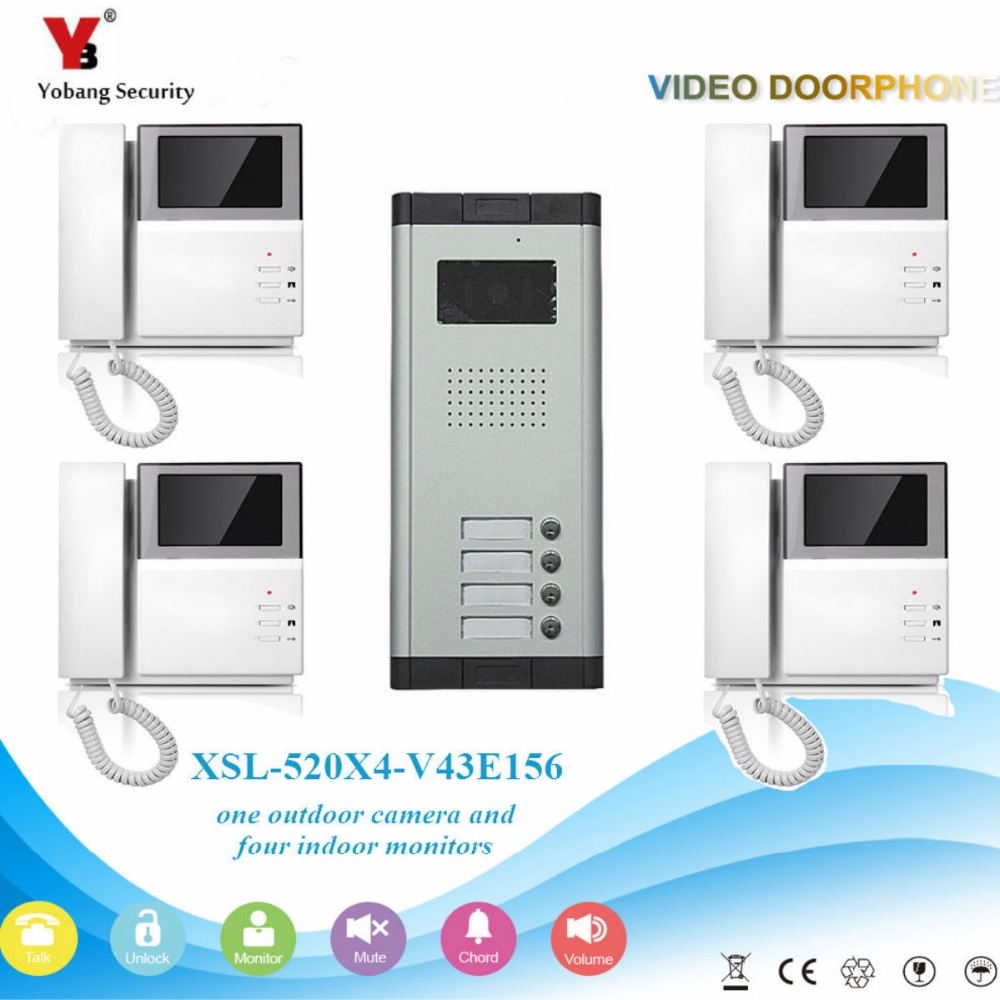 YobangSecurity Video Intercom 4.3 Inch Color LCD Video Door Phone Doorbell Camera Monitor Entry System For 4 Unit Apartment