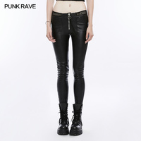 PUNK RAVE Women Fashion Personality pu Leather Black Leggings Sexy Women Punk Streetwear Leather Skinny Pants