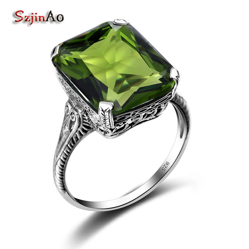 Szjinao 2.3ct Casual Olivine Vintage Women's Ring 925 Sterling Silver Green Party 2016 New Brand Fine Jewelry Christmas Gifts(China)