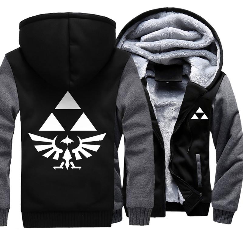 Men's Winter Thick Cartoon Anime Jacket The Legend Of Zelda Men Coat Hooded Sweatshirt Contrast Color For Option Drop Shipping