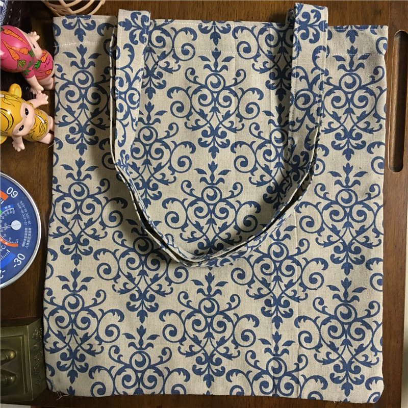 YILE Cotton Linen Shopping Tote Shoulder Carrying Bag Eco Reusable Bag Printed Blue Flower Motif 170213-2