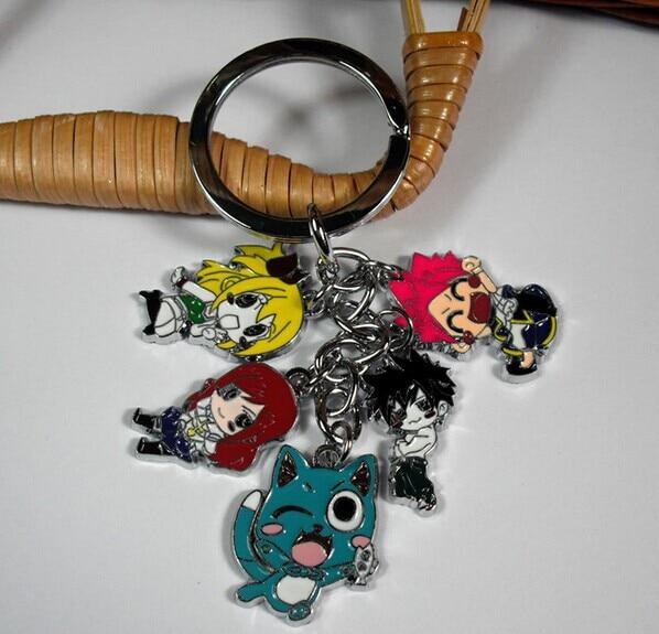10pcs lot Fairy Tail Figure Toys Model Doll Happy Natsu Lucy Wendy Lulu Metal Keychain Pendants