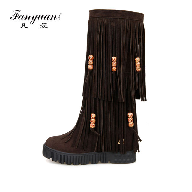 a77e0ae7efa18 Fanyuan New Flock Winter Women boots High heels over the Knee high bota  shoes Fringe Tassels Fashion long boots woman 34-44