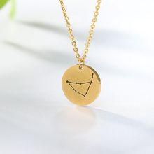 12 Constellation Pendant Necklace Zodiac Sign Birthday Gifts Message Card for Women Girl Gold Chain Necklaces
