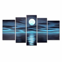 Luxury 5 Piece Scenery Night Blue Moon Sea Reflection Home Wall Room Living Room Kitchen Decor