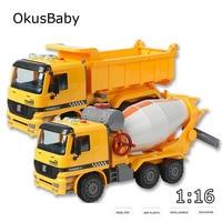 1:16 Children Music Story LED Lights Engineer Truck Toy Vehicle Dump Car Excavator Crane Traffic Toys Baby Boys Educational Kit