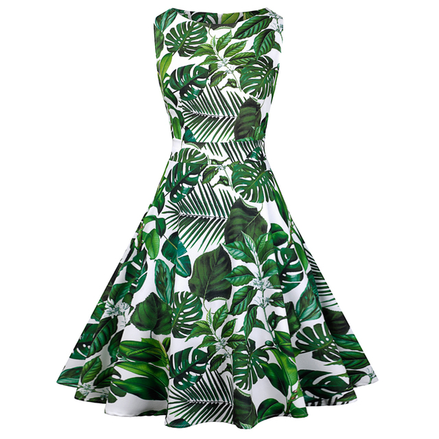 US $15.29 49% OFF|Kenancy Cactus Print Summer Women Vintage Dress Round  Neck Sleeveless Retro Party Dress Plus Size Vestidos Casual Daily  Sundress-in ...