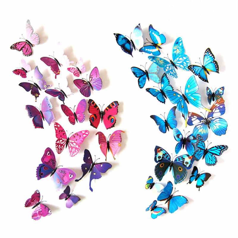 12/Lot Pvc 3d Effetto Multicolore Farfalle Wall Sticker Bella Farfalla per La Camera Dei Bambini Decalcomanie Della Parete Della Decorazione Della Parete Diy arte