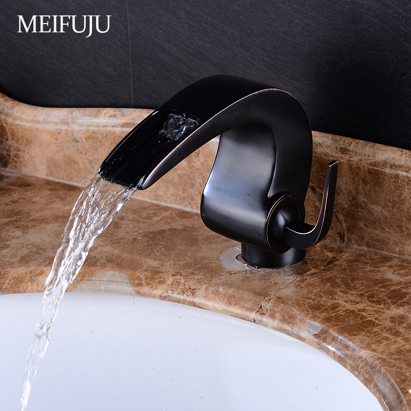 Classic Basin Faucets Single Hole Oil Rubbed Bronze Bathroom Faucets Crane Black Waterfall Faucet Bathroom Mixer Tap Basin Sink bathroom accessories black oil rubbed bronze toothbrush holders band ceramic cups wba474