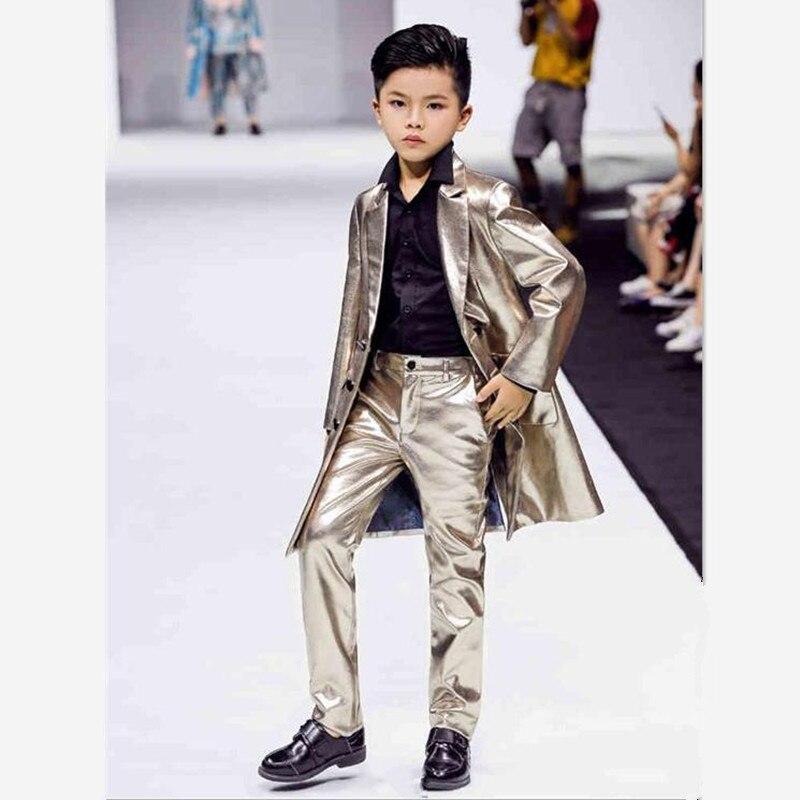 Children's PU Leather Sets Boys Blazer Dress Suit 2019 Spring Autumn New Kids Jackets Show Catwalk Costume Boy Coat Outwear Y521