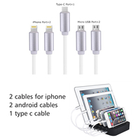 charging station 5 port with cables for mobile phone iphone apple sumsung xiaomi huawei oppo vivo redmi charger docking dock