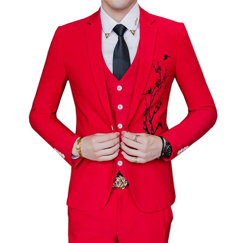 High Quality Men Suit Three-piece Set White Red Black Men Suit Jacket With Pants And Vest Asia Size S - XXXL Embroidery Blazer