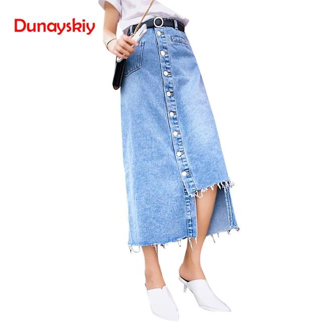 14aa916ff Fashion HighWaist Denim Skirts Women Asymmetrical Single-breasted Jeans  Skirt Sexy Streetwear Patchwork Long Skirts Faldas Mujer