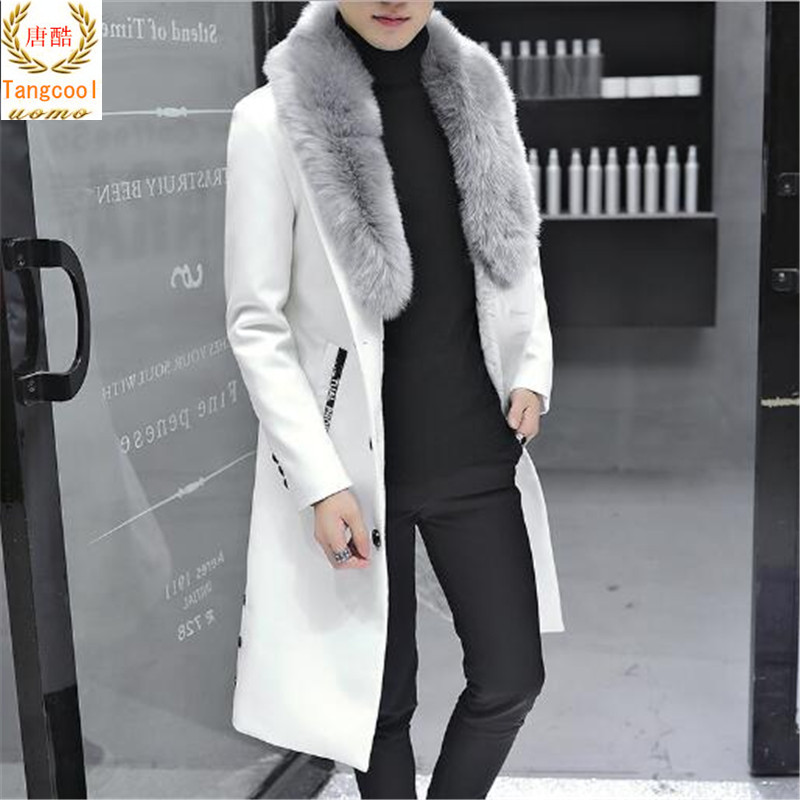 Fashionable temperament overcoat fur mens hair collar windbreaker winter thickening warm and long PU coat