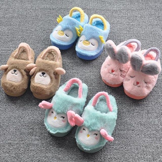 Kids Baby Cotton Shoes Winter Home Slippers Children Girls Warm Cartoon Cotton Slipper Indoor Velvet Shoes Bunny Cute Slippers