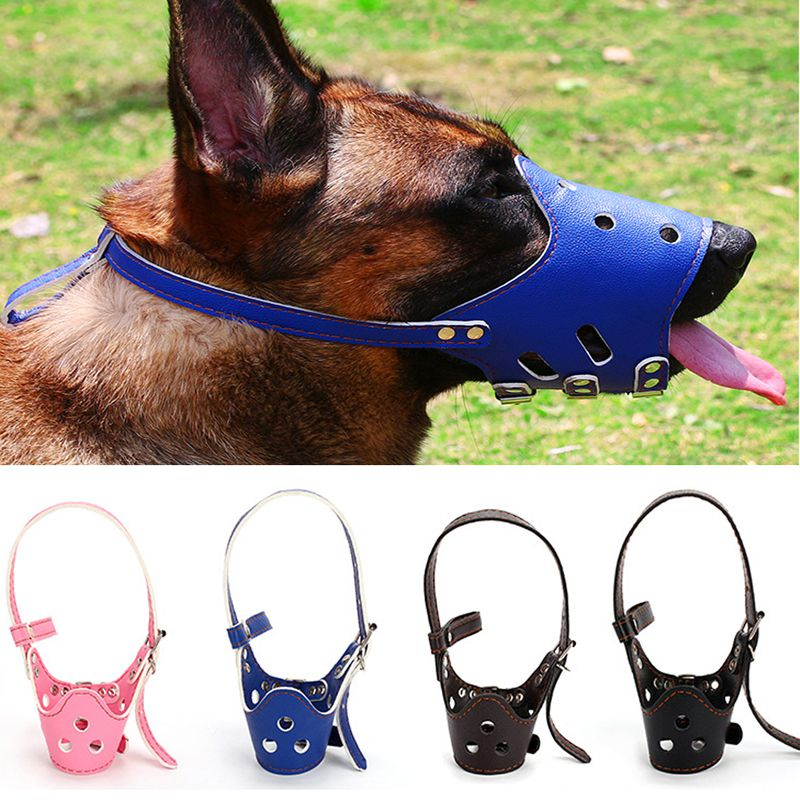 Pet Pu Adjustable Mask Bark Bite Mesh Soft Mouth Muzzle Grooming Anti Stop Chewing For Small Large Dog Anti Biting Pet Products