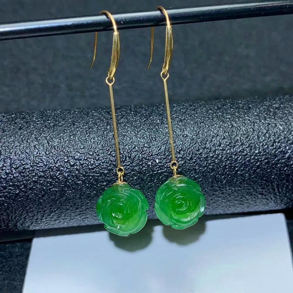 SHILOVEM 18k yellow gold Natural Jasper drop earring classic fine Jewelry women wedding women gift 10*10mm myme1010210by