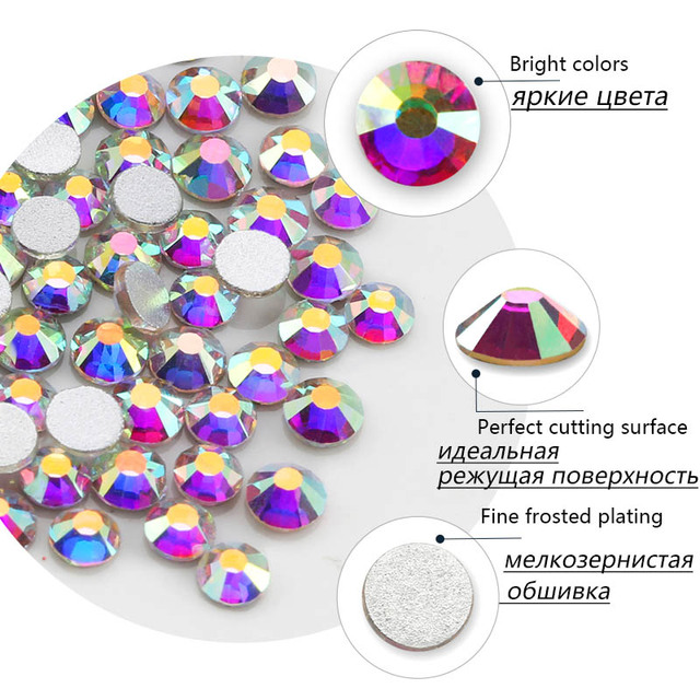 Multi-Size Glass Nail Rhinestones For Nails Art Decorations Crystals Strass Charms Partition Mixed Size Rhinestone Set 5