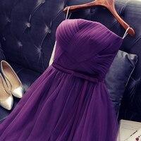 2017 printemps nouveau court de bal dress violet pour femmes élégant un line off épaule tulle lace up mode conception formelle robe dans stock