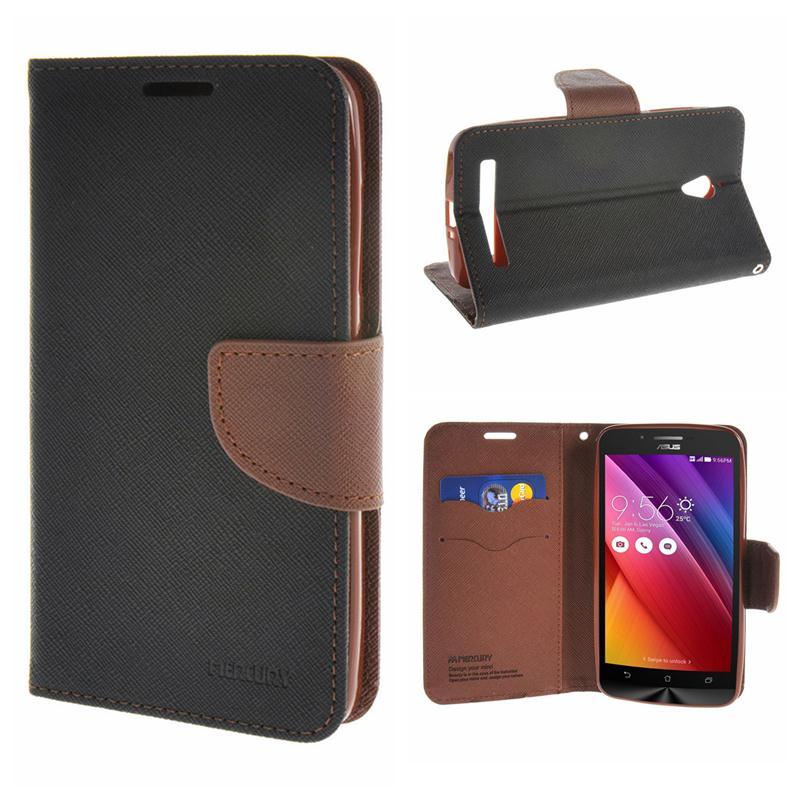 MOONCASE Case For Asus Zenfone Go ZC500TG ZC500 Hit Color Leather Wallet Card Flip Slot Bracket Back Case Cover