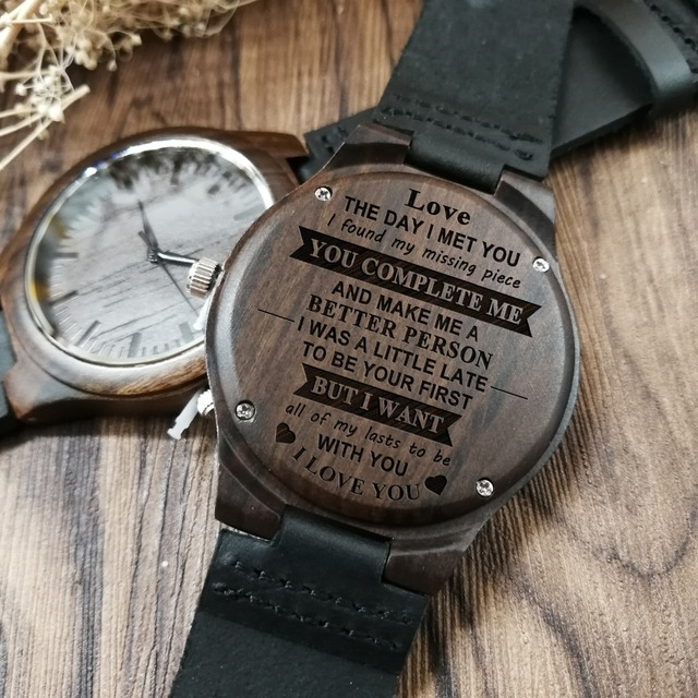 THE DAY I MET YOU - FOR BOYFRIEND ENGRAVED WOODEN WATCH 5
