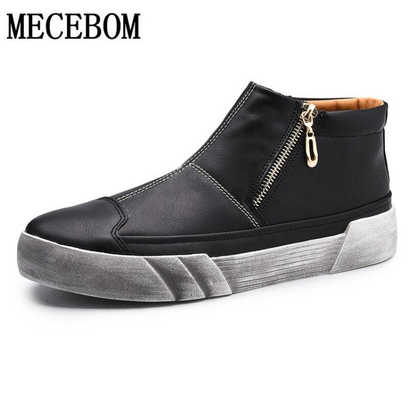 Mens boots retro leisure ankle boots zip breathable casual shoes men quality botas moccasins size 39